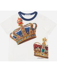 Dolce & Gabbana Jersey T-shirt With Crown Print - White