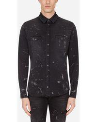 Dolce & Gabbana Black Stretch Denim Shirt With Brushstroke Details - Noir