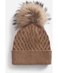 Dolce & Gabbana Woolen Hat With Fur Pom Pom - Natural