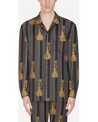 Dolce & Gabbana Pyjama Shirt In Printed Silk - Black