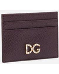 Dolce & Gabbana Credit Card Holder With Dg Rhinestones In Dauphine Calfskin - Lila