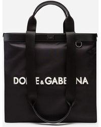 Dolce & Gabbana Shopping In Nylon Con Logo Gommato - Nero