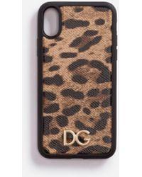 Dolce & Gabbana Cover Iphone X In Vitello Dauphine Stampa Leo - Marrone