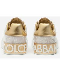 Dolce & Gabbana Portofino Mother-of-pearl Trainers In Patent Leather - White