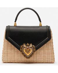 Dolce & Gabbana Medium Devotion Bag In Wicker And Calfskin - Nero
