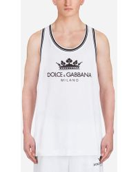 Dolce & Gabbana - Cotton Tank With Print - Lyst