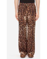 Dolce & Gabbana Pyjamahose Aus Seide Mit Leoprint - Braun