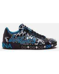 Dolce & Gabbana Calfskin Nappa Portofino Sneakers With Jungle Sport Print - Blau