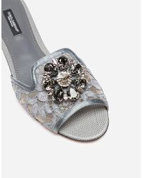 Dolce & Gabbana Lace Sliders With Crystals - Grau