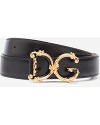 Dolce & Gabbana Leather Belt With D&G Baroque Logo - Noir