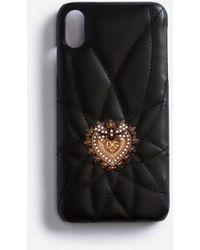 Dolce & Gabbana Cover Iphone Xs Max In Vitello Devotion - Nero