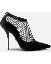 Dolce & Gabbana Mesh T-strap Heels - Black