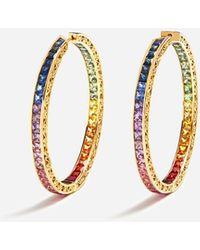 Dolce & Gabbana Runde Ohrringe Mit Mehrfarbigen Saphiren - Mettallic