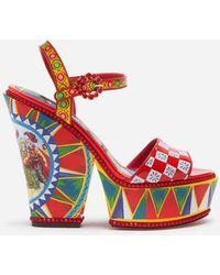 Dolce & Gabbana Patent Leather Sandals With Wedge Heel And Sicilian Carretto Print - Rojo