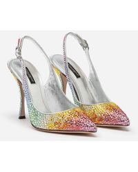 Dolce & Gabbana Sling Backs In Satin And Crystal - Multicolor