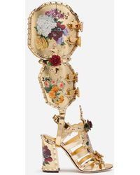 Dolce & Gabbana Nappa Mordore Gladiator Sandals With Studs And Painted Flower Detailing - Metálico