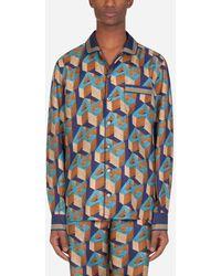Dolce & Gabbana Silk Pajama Shirt With All-Over Dg Print - Blu