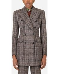 Dolce & Gabbana Double-Breasted Jacket In Checked Tartan - Marrone