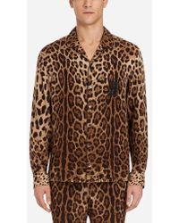 Dolce & Gabbana - Leopard Print Silk Pyjama Shirt - Lyst