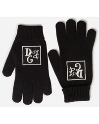 Dolce & Gabbana Knit Wool Gloves With Dg Patch - Noir