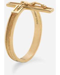 Dolce & Gabbana Sicily Yellow Gold Ring With Cross - Metallic