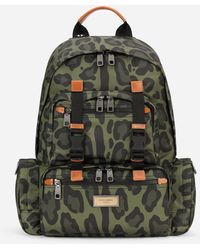 Dolce & Gabbana - Nylon Backpack With Leopard Print Against A Green Background And Branded Plate - Lyst