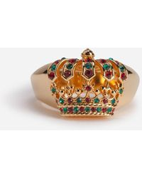Dolce & Gabbana Metal Ring With Crown And Rhinestones - Metallic