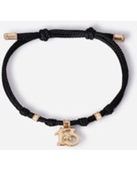 Dolce & Gabbana Fabric Good Luck Bracelet With Yellow Gold Pendant Charm - Metálico