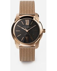 Dolce & Gabbana Dg7 Watch In Red Gold With Milano Mesh Bracalet - Metallic
