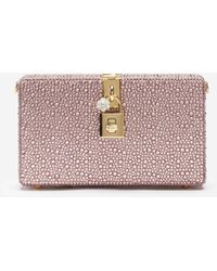 Dolce & Gabbana Dolce Box Clutch With Heat-Applied Rhinestones - Rosa