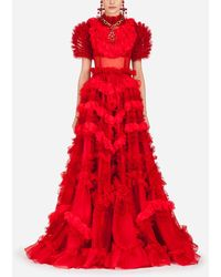 Dolce & Gabbana Silk Organza Dress - Rouge