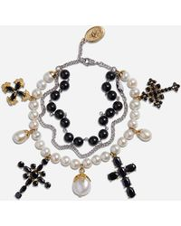 Dolce & Gabbana Yellow And White Gold Family Bracelet With Cblack Sapphire, Pearl And Black Jade Beads - Noir