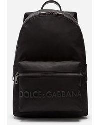 Dolce & Gabbana - Vulcano Backpack In Nylon With Rubberized Logo - Lyst