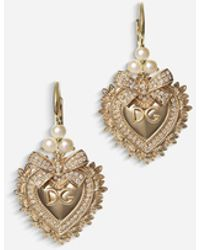Dolce & Gabbana Devotion Earrings In Yellow Gold With Diamonds And Pearls - Metálico