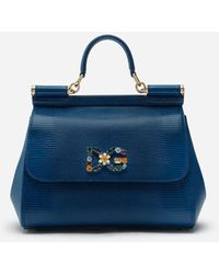 Dolce & Gabbana Medium Iguana Print Calfskin Sicily Bag With Crystal Dg Logo Patch - Azul