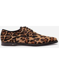 Dolce & Gabbana Leopard-print Pony Hair Derby Shoes - Brown
