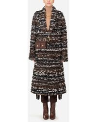 Dolce & Gabbana Robe-Style Jacket In Tweed With Belt - Nero