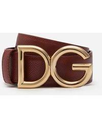 Dolce & Gabbana Reversible Belt In Dauphine Calfskin With Dg Logo - Braun
