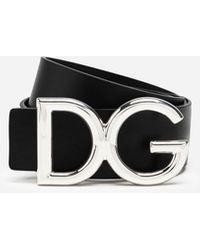 Dolce & Gabbana Cintura In Cuoio Con Logo Dg - Nero