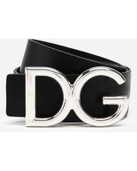 Dolce & Gabbana Leather Belt With Dg Logo - Black