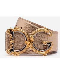 Dolce & Gabbana Belt In Laminated Dauphine Calfksin With Baroque Dg - Metálico