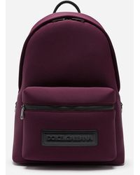 Dolce & Gabbana Monreale Tecnico Backpack In Neoprene With Heat-stamped Logo - Purple