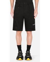 Dolce & Gabbana Stretch Cotton Cargo Shorts With Patch Embellishment - Black
