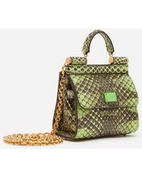 Dolce & Gabbana Micro Bag Sicily 58 Aus Elapheleder Mit Python-Print - Grün