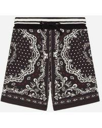 Dolce & Gabbana Jogging-Bermudas Aus Jersey Bandanadruck - Schwarz