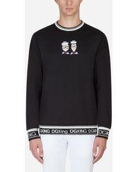 Dolce & Gabbana Sweatshirt Aus Baumwolle Mit Patch Dg Family - Schwarz