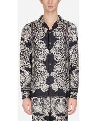 Dolce & Gabbana - Pyjama Blouse In Printed Silk - Lyst