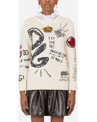 Dolce & Gabbana Round-Neck Wool Sweater With Intarsia And Embroidery - Multicolor