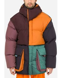Dolce & Gabbana Quilted Nylon Patchwork Jacket With Patch Embellishment - Multicolour