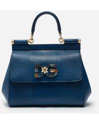 Dolce & Gabbana Small Iguana Print Calfskin Sicily Bag With Crystal Dg Logo Patch - Blau